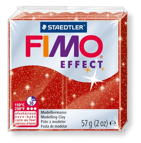 Fimo effect glitter rood nr. 202.