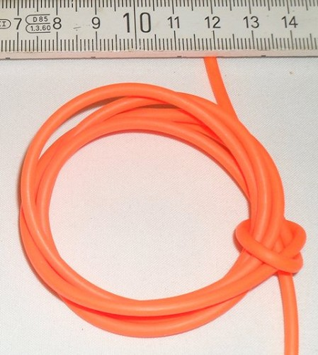 Rubber 3 mm neon oranje.