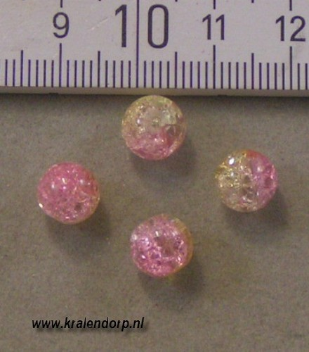 Crackle 8mm roze-geel. 100 st.