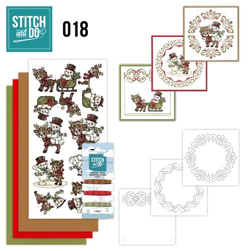 Borduursetjes Stitch and Do 18 - Snowman and Reindeer.