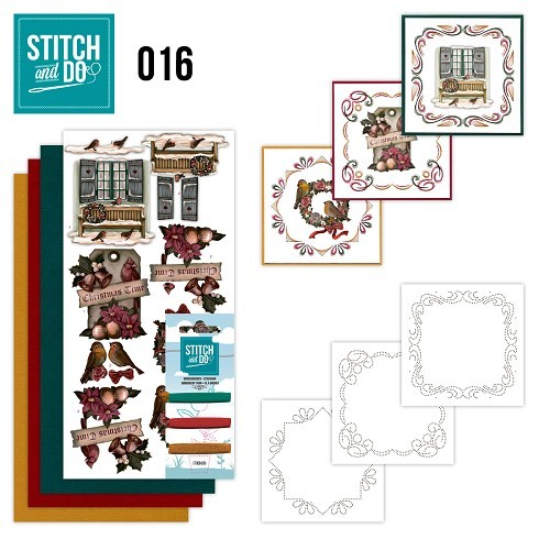 Borduursetjes Stitch and Do 16 - Brocante kerst.