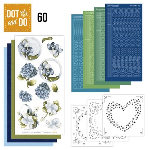 Hobbydots set Dot and Do 60 - Blauwe bloemen.