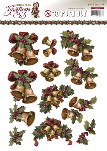 3D Pushout - Amy Design - Christmas Greetings - Kerstklokken.