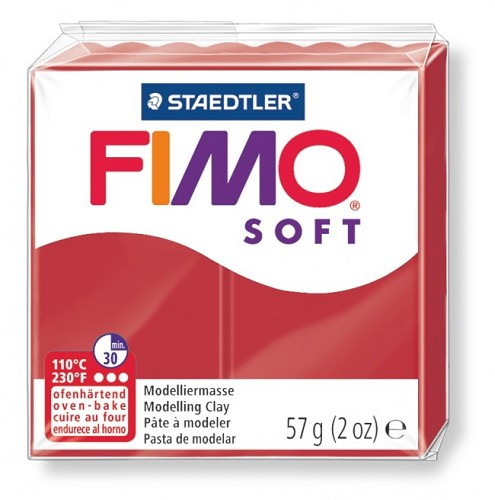 Fimo klei soft kerst rood. nr. 2.