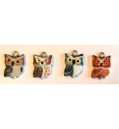 Metal Charms, Mini Owls.