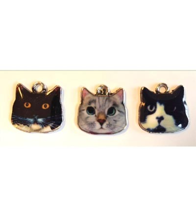 Metal Charms, Cats. 3 stuks.