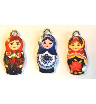 Metal Charms, Russian Dolls. 3 stuks.