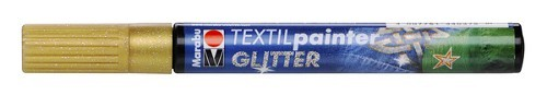 Textielstift plus punt 3mm glitter goud.