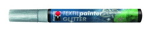 Textielstift plus punt 3mm glitter zilver.