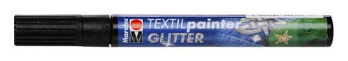 Textielstift plus punt 3mm glitter zwart.