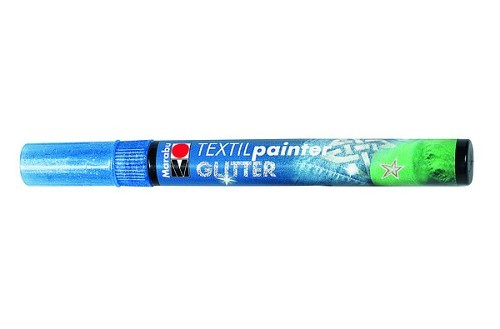Textielstift plus punt 3mm glitter blauw.