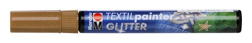 Textielstift plus punt 3mm glitter bruin.