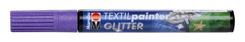 Textielstift plus punt 3mm glitter lila.