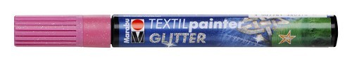 Textielstift plus punt 3mm glitter roze.