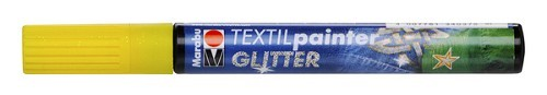 Textielstift plus punt 3mm glitter geel.