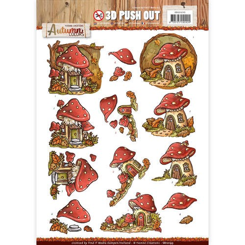 Pushout -Yvonne creations - Autumn Colors- Mushrooms Houses.