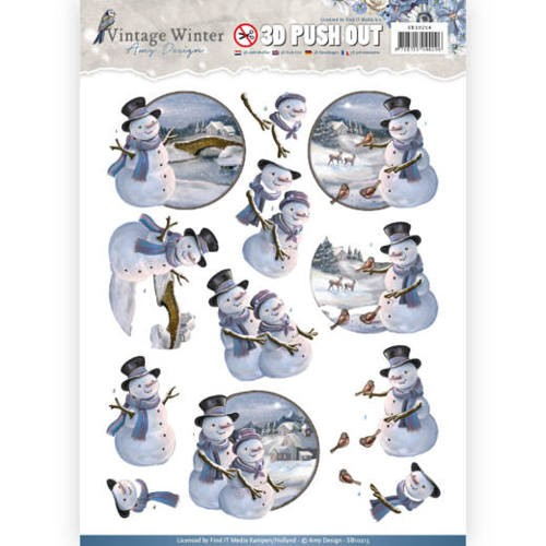 Pushout- Amy Design - Vintage Winter - Snowman.