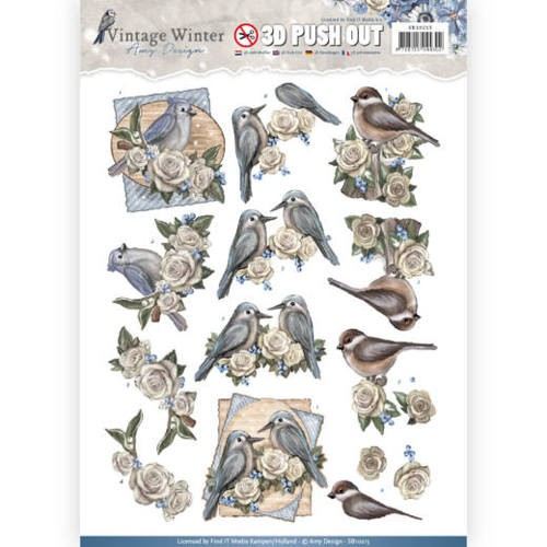 Pushout- Amy Design - Vintage Winter - Winter Birds.