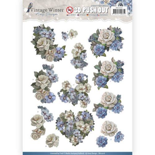 Pushout- Amy Design - Vintage Winter - Winter Flowers.