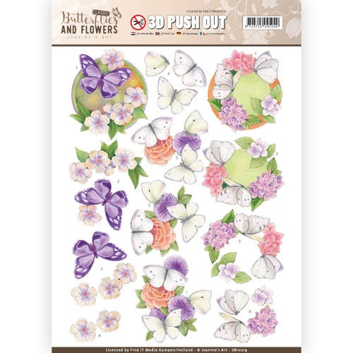 3D Push Out - Jeanine`s Art - Classic Butterflies and Flowers - White Butterflies.