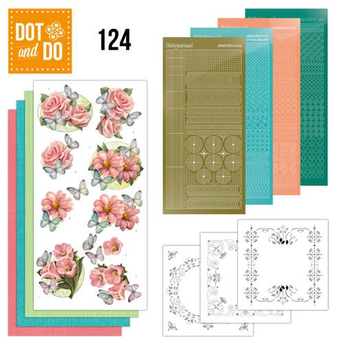 Dot and Do 124 - Pink flowers and butterflies.