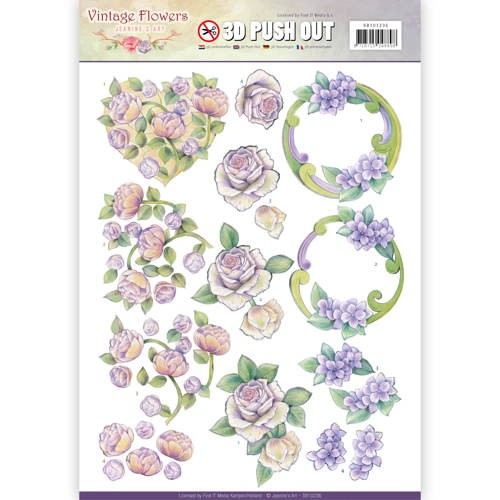 Pushout - Jeanine`s Art - Vintage Flowers - Romantic Purple.