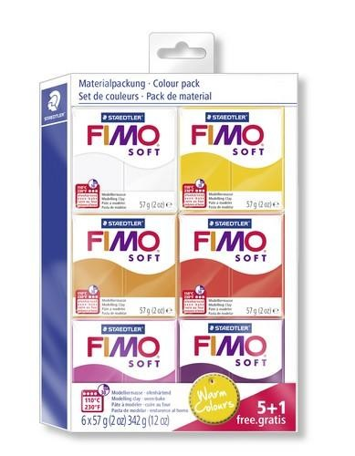 Fimo soft kleuren set warm colours 5 + 1 pakje gratis.
