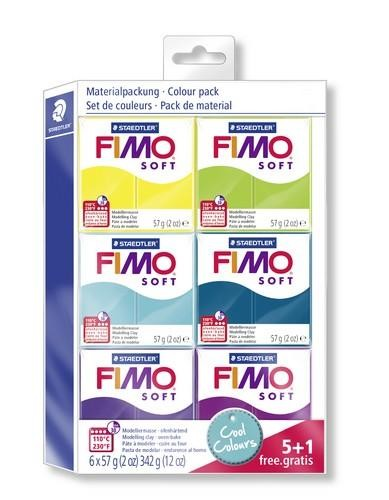 Fimo soft kleuren set cool colours 5 + 1 pakje gratis.