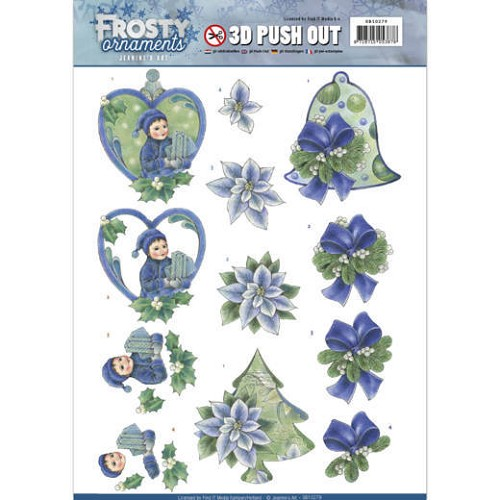 3D Push Out - Jeanine`s Art - Frosty Ornaments - Green Ornaments.