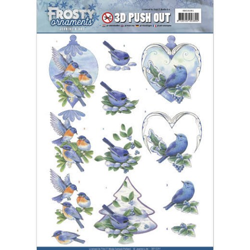 3D Push Out - Jeanine`s Art - Frosty Ornaments - Blue Birds.