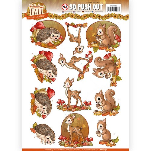 3D Push Out - Yvonne Creations - Fabulous Fall - Fabulous Animals.