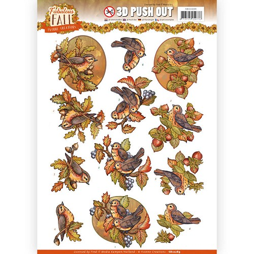 3D Push Out - Yvonne Creations - Fabulous Fall - Fall Birds.