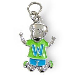 Charms for you letter W jongen.