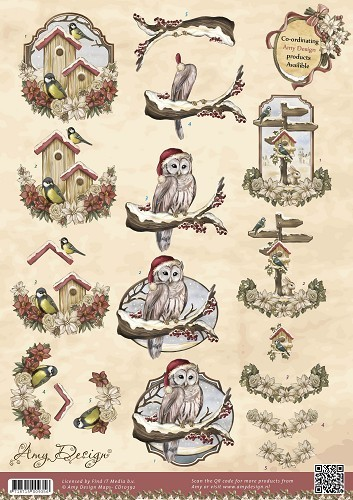 3D Knipvel - Amy Design - Vintage Christmas Collection - Kerstvogels
