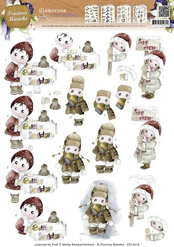 3D Knipvel - Precious Marieke - Glamorous Christmas - Kids in the snow