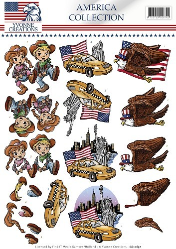 3D Knipvel - Yvonne Creations - America Collection - Cowboy & girl