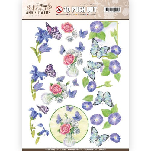 3D Push Out - Jeanine`s Art - Classic Butterflies and Flowers - Butterflies on blue flowers.