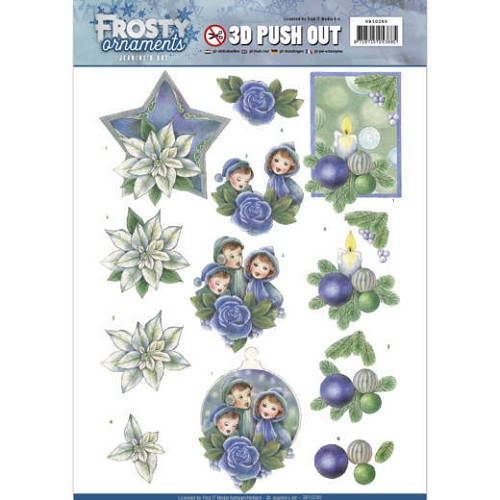 3D Push Out - Jeanine`s Art - Frosty Ornaments - Blue Ornaments.